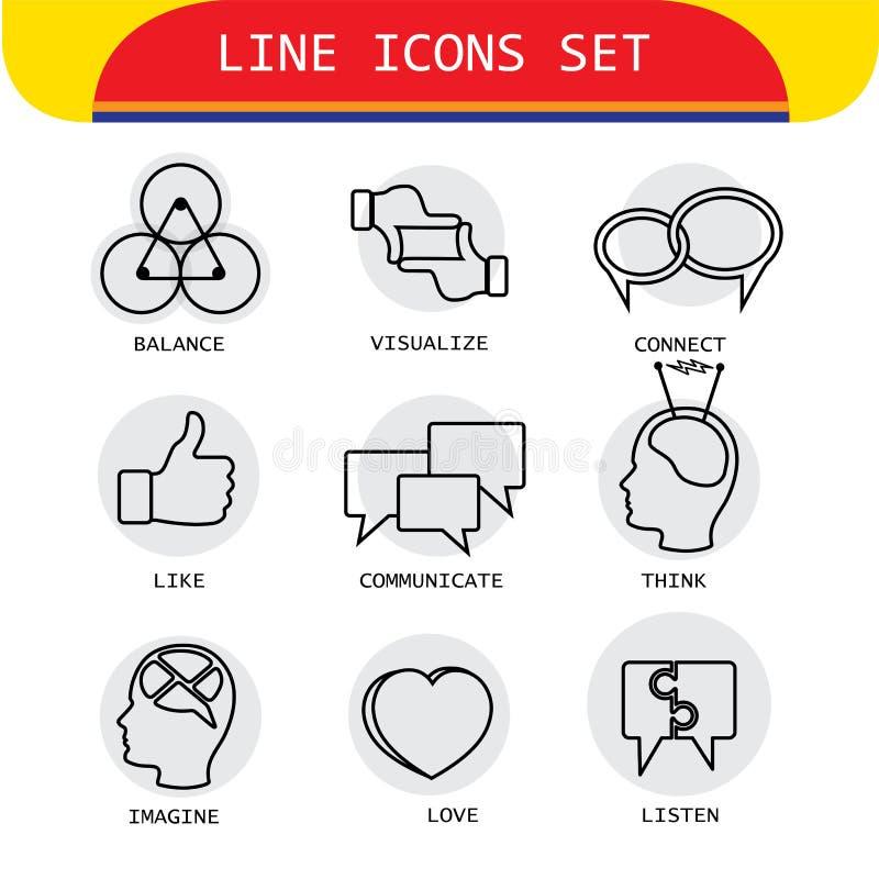 Vector la línea iconos de acciones humanas como el amor, escuchando, piense ilustración del vector