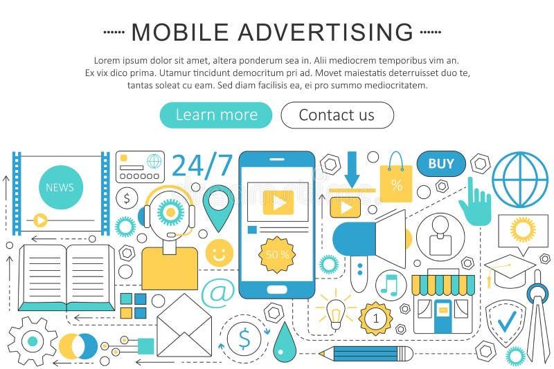 Vector la línea moderna concepto móvil plano de las ventas del márketing de publicidad Iconos móviles de la tecnología del márket stock de ilustración