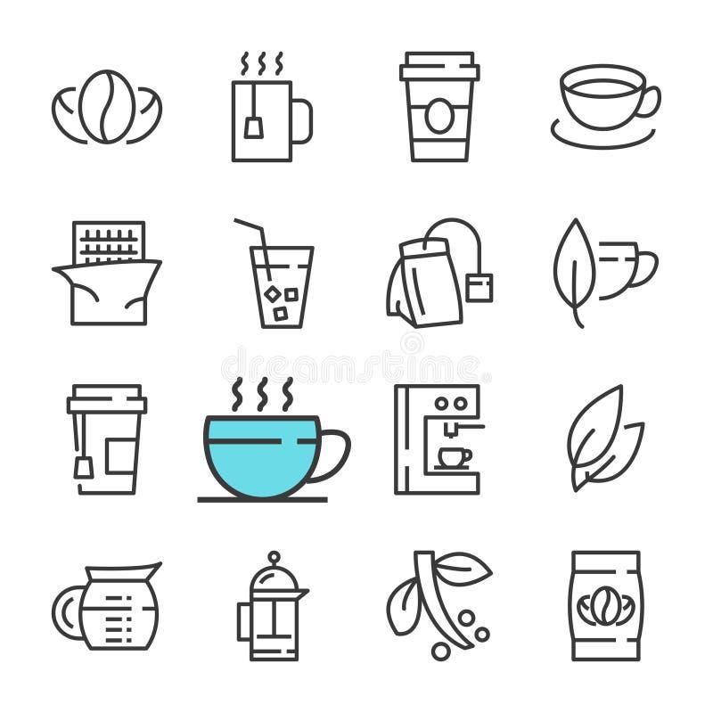 Vector la línea negra café y los iconos del té fijados libre illustration