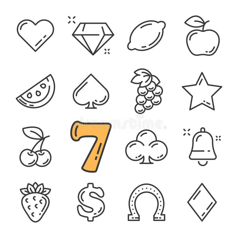 Vector la línea negra máquina tragaperras y los iconos del casino fijados Incluye los iconos tales como el diamante, frutas, dóla libre illustration