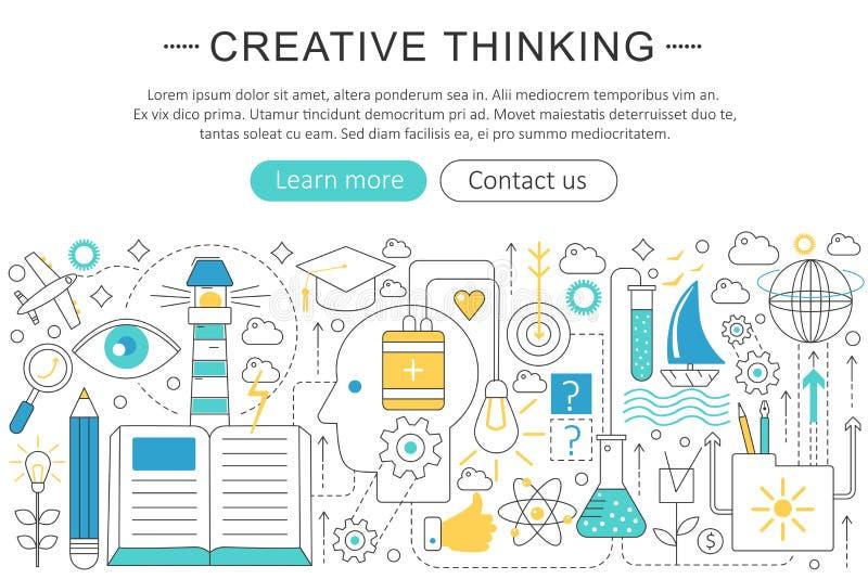 Vector la línea plana fina elegante concepto del pensamiento creativo Disposición de los elementos de la portada del sitio web stock de ilustración