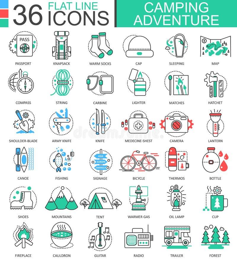 Vector la línea plana iconos de la aventura que acampa del esquema para los apps y el diseño web Icono de la aventura que acampa libre illustration