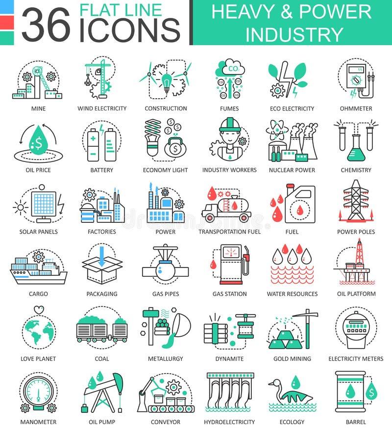 Vector la línea plana iconos de la industria pesada y de poder del esquema para los apps y el diseño web Alta tecnología pesada d stock de ilustración