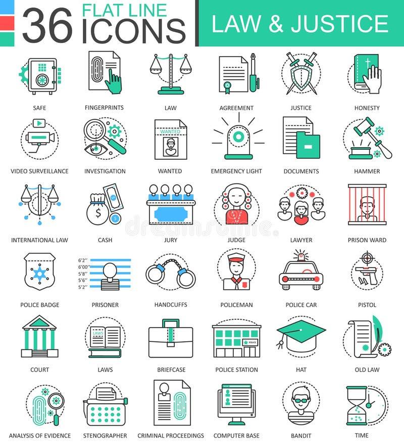 Vector la línea plana iconos del color de la ley y de la justicia del esquema para los apps y el diseño web Elementos de la justi ilustración del vector