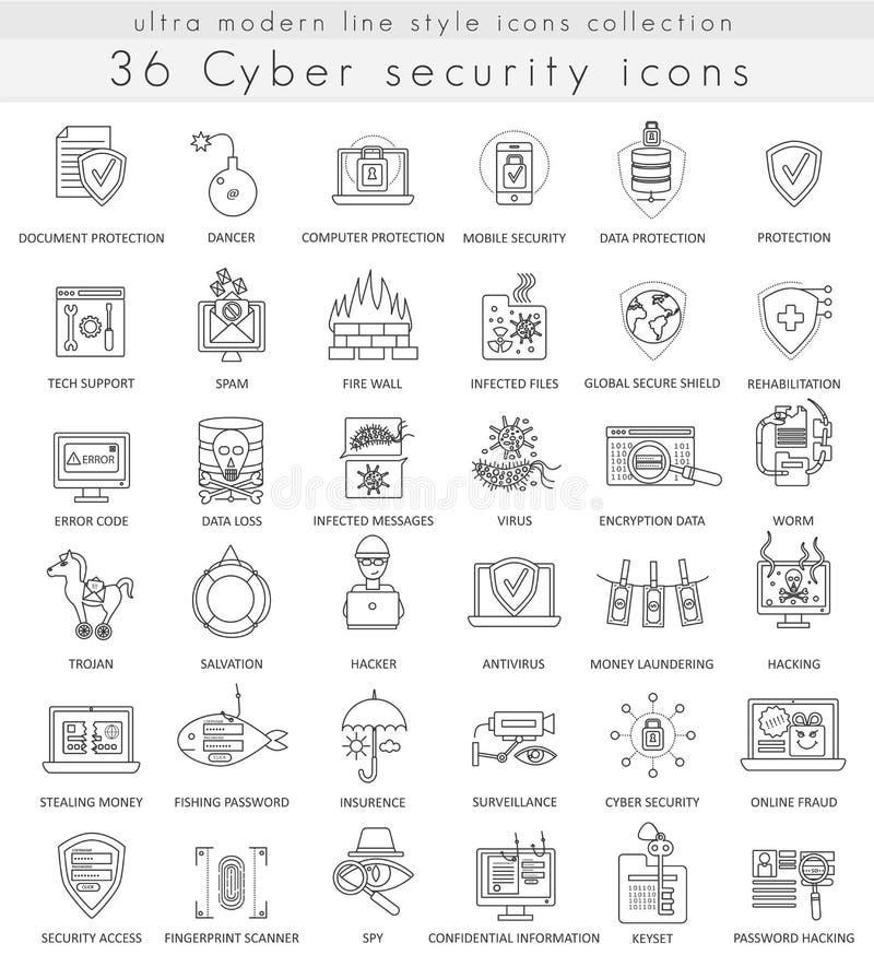Vector la línea ultra moderna cibernética iconos del esquema de la tecnología de seguridad para el web y los apps stock de ilustración