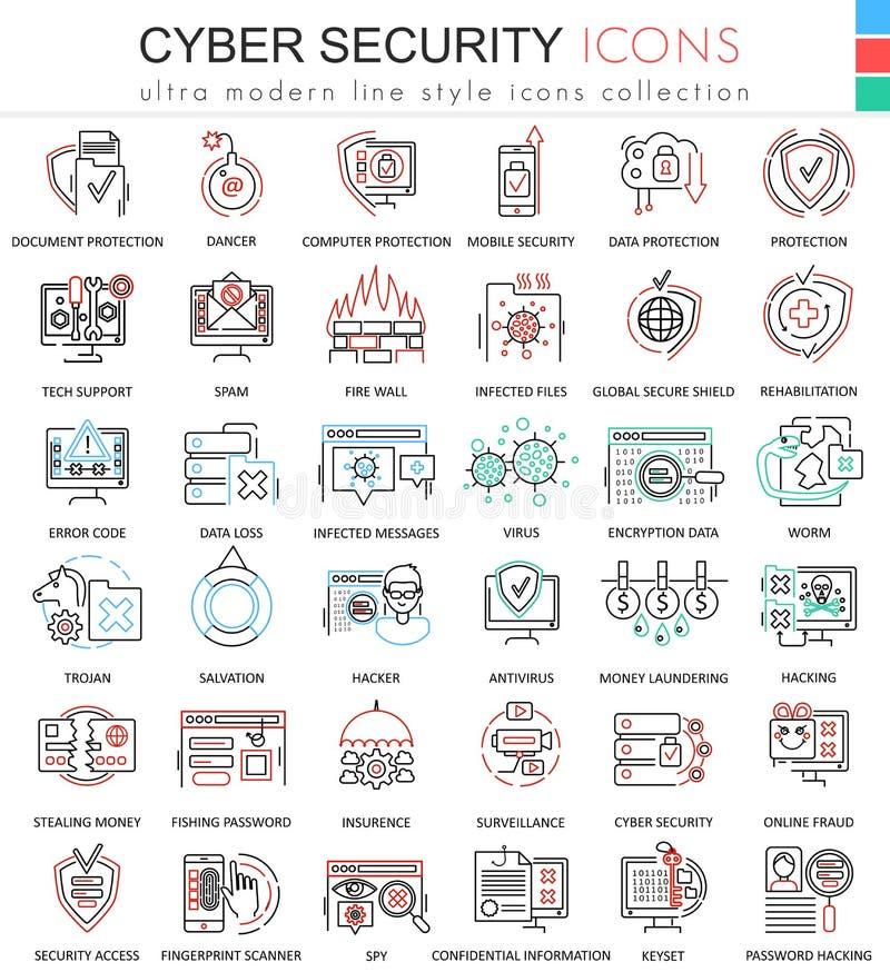 Vector la línea ultra moderna cibernética iconos del esquema del color de la seguridad para los apps y el diseño web libre illustration