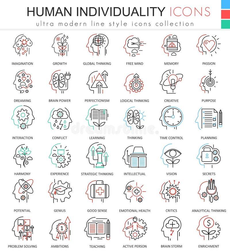 Vector la línea ultra moderna humana iconos del esquema del color de la personalidad y de la mentalidad para los apps y el diseño ilustración del vector