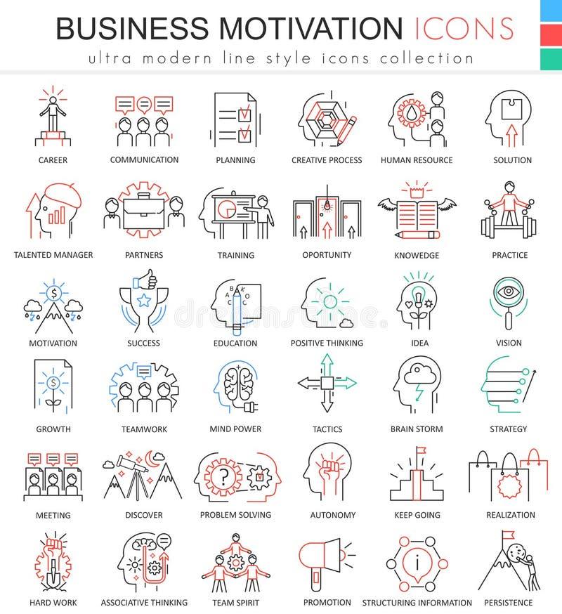 Vector la línea ultra moderna iconos del esquema del color de la motivación del negocio para los apps y el diseño web libre illustration