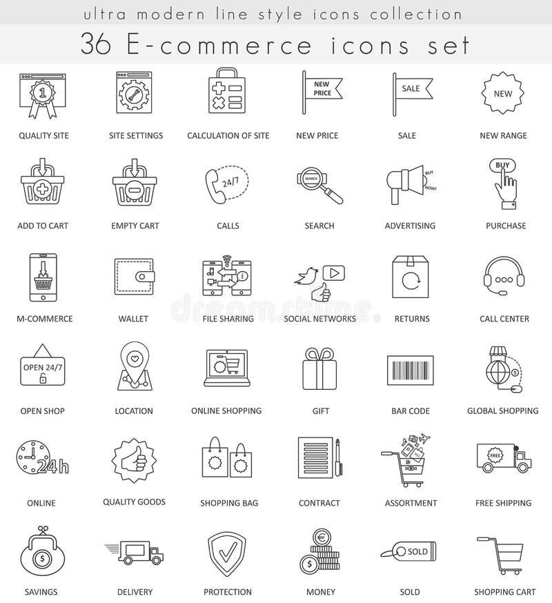 Vector la línea ultra moderna iconos del esquema del comercio electrónico para el web y los apps libre illustration