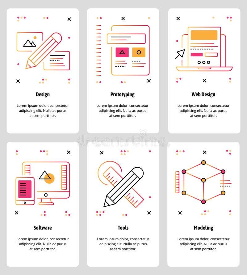 Vector la línea web del arte y sistema móvil de la plantilla del app libre illustration