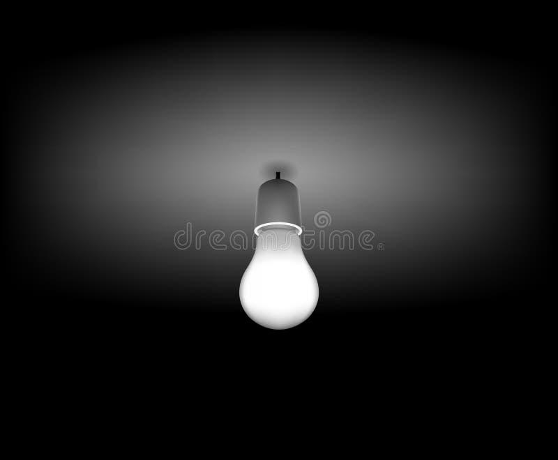 Vector la lampadina classica sulla stanza scura illustrazione di stock