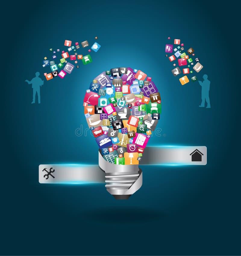 Vector la lampadina creativa con gli elettrodomestici CI illustrazione vettoriale