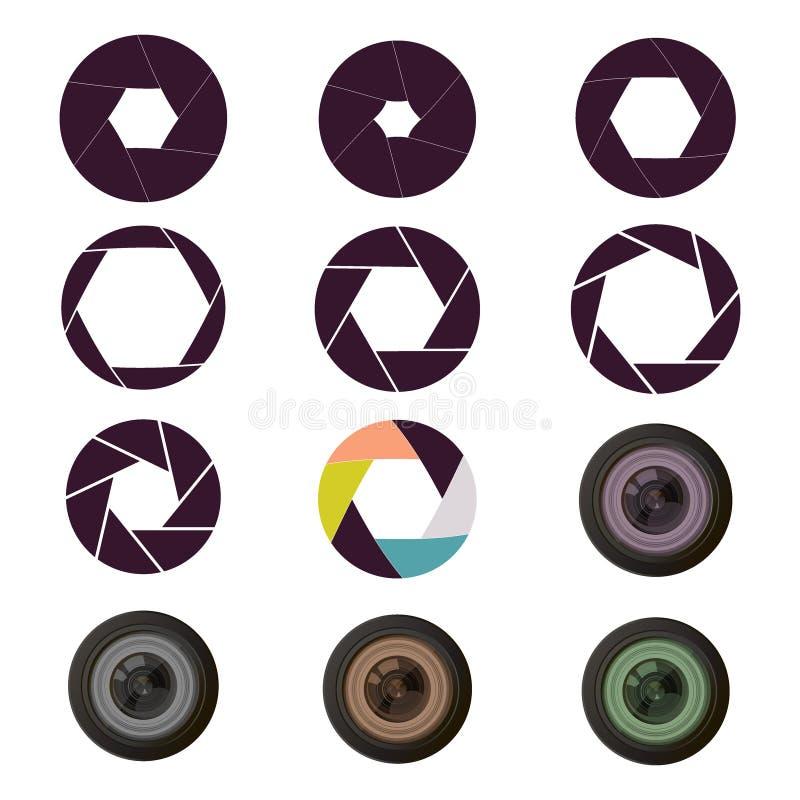 Vector la lente ottica dell'attrezzatura del fuoco di fotografia delle aperture dell'otturatore illustrazione di stock