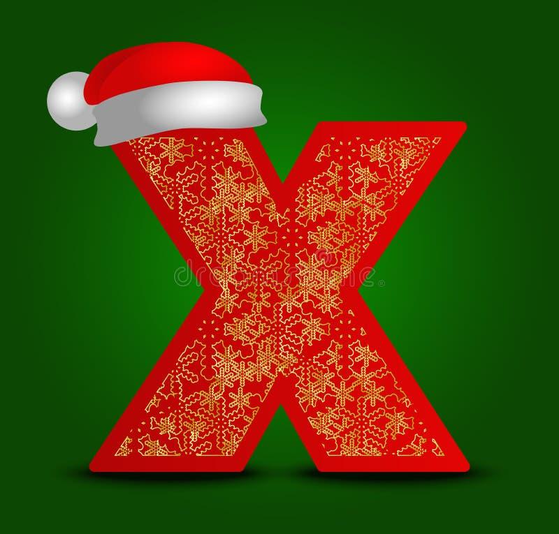 Vector la lettera X dell'alfabeto con i fiocchi di neve del cappello e dell'oro di natale illustrazione di stock