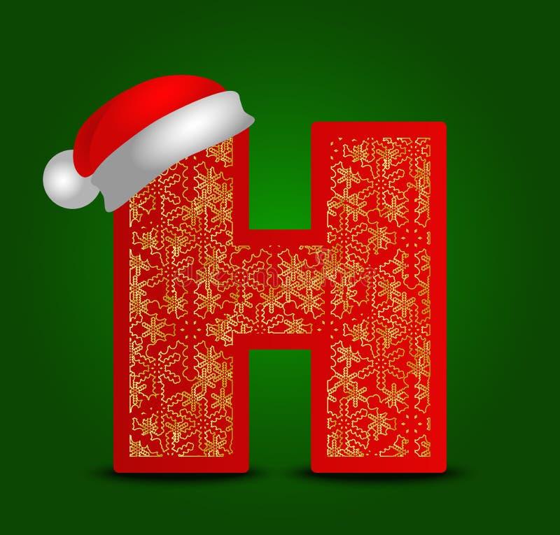 Vector la lettera H dell'alfabeto con i fiocchi di neve del cappello e dell'oro di natale illustrazione vettoriale