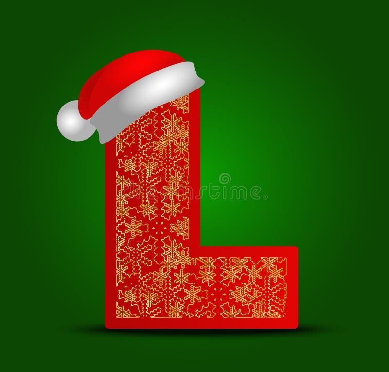 Vector la lettera L dell'alfabeto con i fiocchi di neve del cappello e dell'oro di natale illustrazione vettoriale