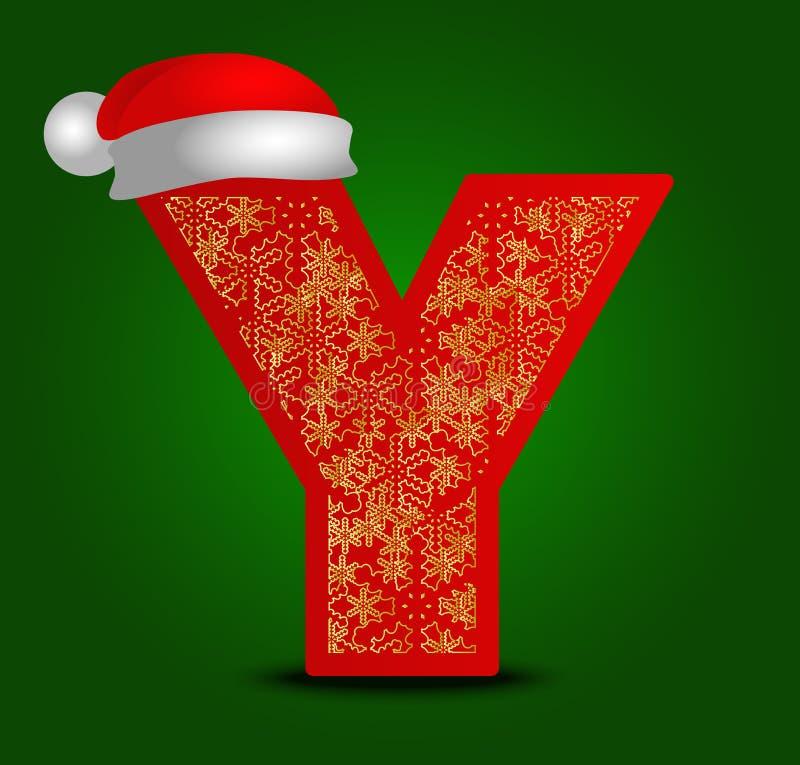 Vector la lettera Y dell'alfabeto con i fiocchi di neve del cappello e dell'oro di natale immagini stock