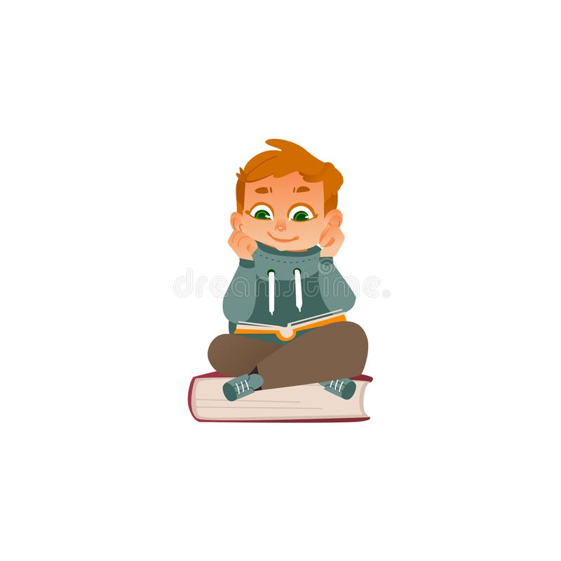 Vector la lettura del ragazzo del fumetto che si siede al grande libro illustrazione di stock