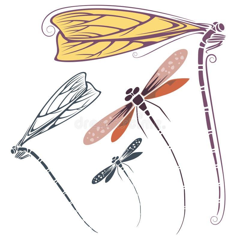 Vector la libélula para las invitaciones, la publicidad y las tarjetas de felicitación stock de ilustración