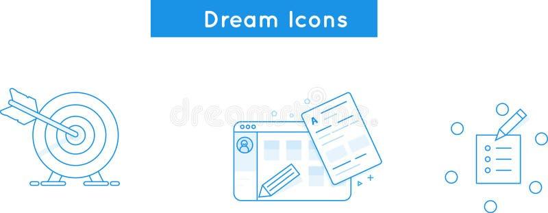 Vector la linea icone che assumono, crei il sito Web, missione, colleghi illustrazione vettoriale