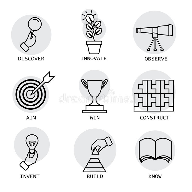 Vector la linea icone di concetti come la scoperta, innovazione, inventi illustrazione di stock