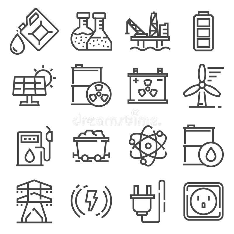 Vector la linea l'energia, l'elettricità, icone di potere messe illustrazione di stock