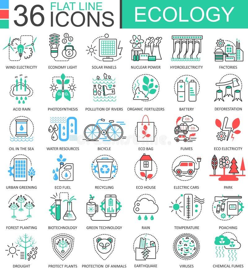 Vector la linea piana icone dell'ecologia del profilo per i apps ed il web design Icona di tecnologia di ecologia royalty illustrazione gratis