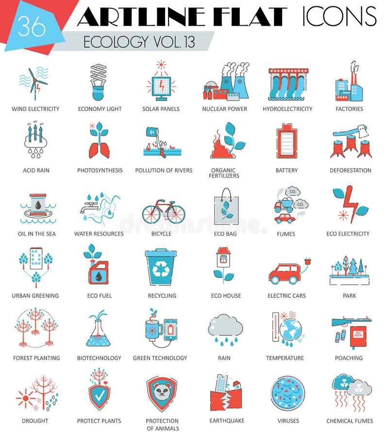 Vector la linea piana icone di artline ultra moderno del profilo dell'ecologia per il web e i apps royalty illustrazione gratis