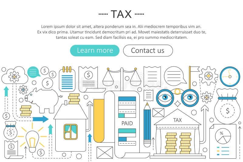 Vector la linea piana sottile elegante concetto di imposte di imposta La tassa dell'intestazione di web tassa la disposizione deg illustrazione vettoriale