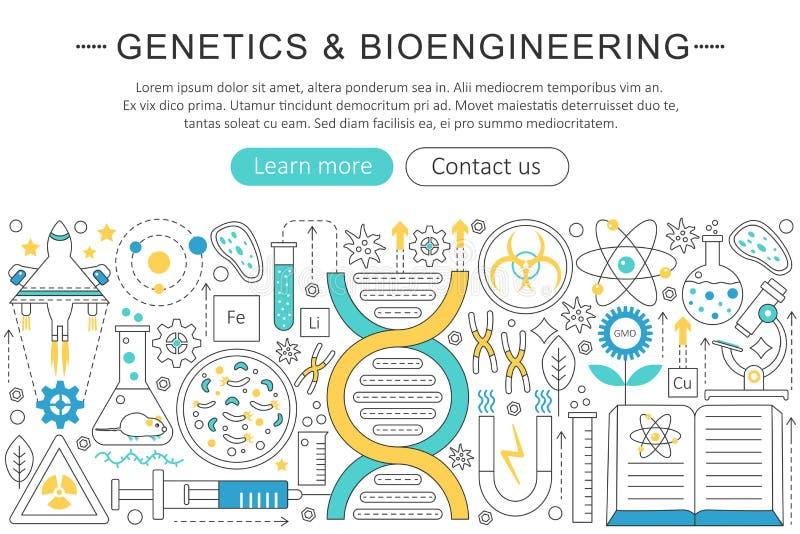 Vector la linea piana sottile elegante la genetica ed il concetto della bioingegneria Disposizione degli elementi dell'insegna di illustrazione vettoriale