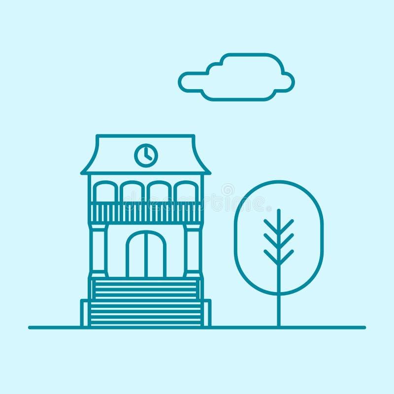 Vector la linea sottile edificio per uffici della città con l'albero e la nuvola Icona di concetto dell'appartamento del bene imm illustrazione di stock