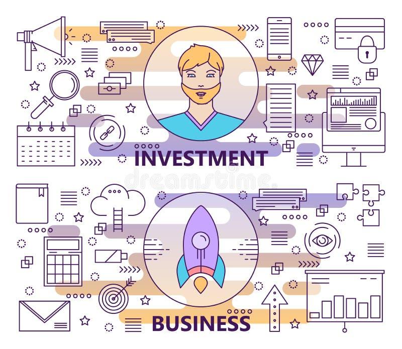 Vector la linea sottile moderna investimento e le insegne di affari illustrazione vettoriale