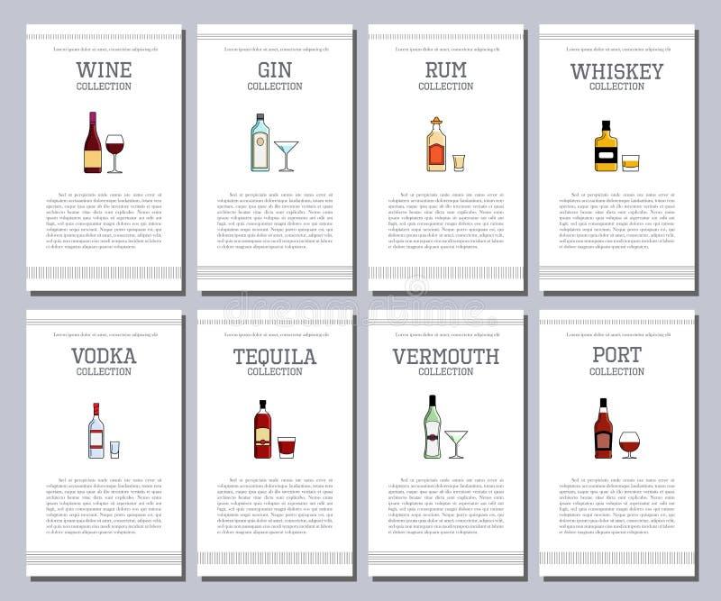 Vector la lista dell'alcool con le icone per il menu della barra Brandy del sidro di sambuca della birra del absinte del cognac d illustrazione di stock