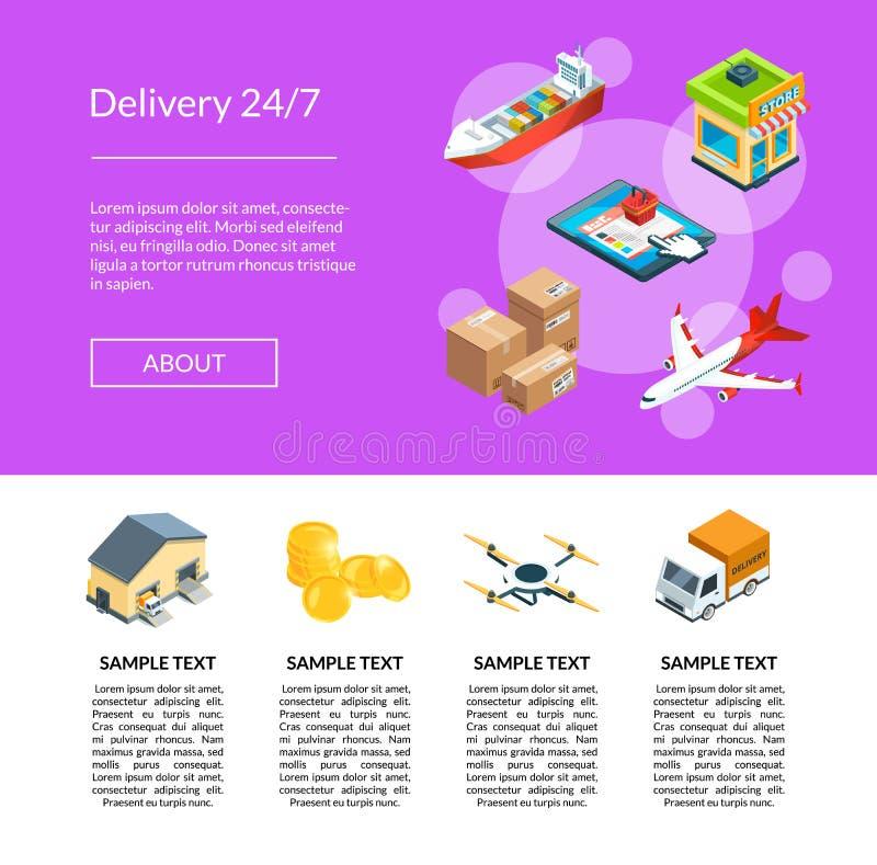 Vector la logistica isometrica e le icone della consegna che atterrano l'illustrazione del modello della pagina royalty illustrazione gratis