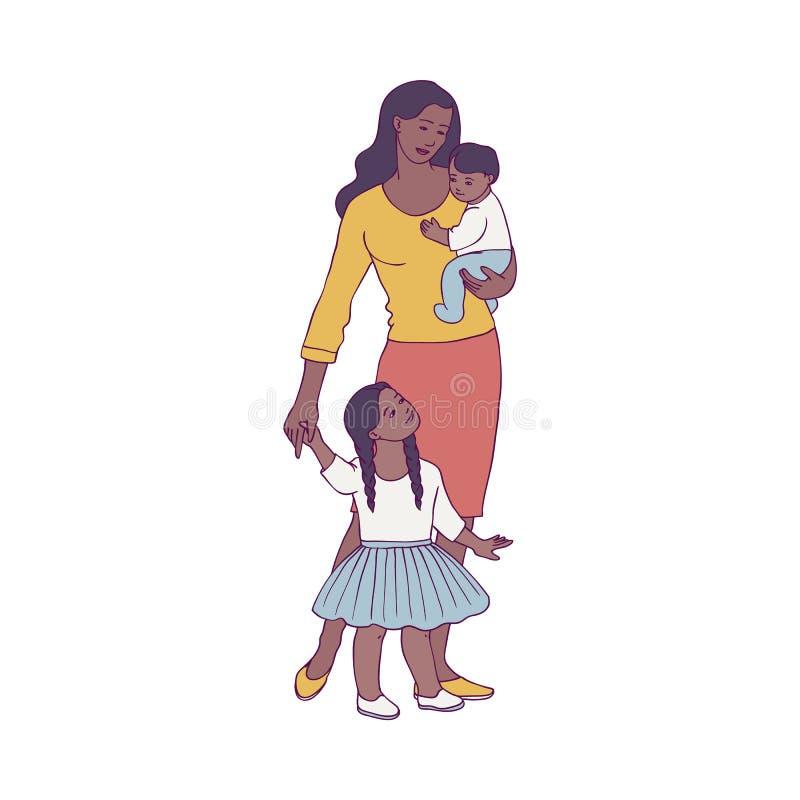 Vector a la madre africana feliz que se coloca con el bebé dos stock de ilustración