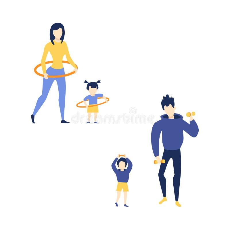 Vector la madre piana, il figlio del padre della ragazza che fa l'esercizio illustrazione vettoriale