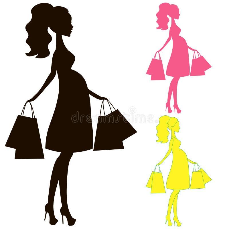 Vector a la mamá embarazada moderna, la mujer hace la tienda en línea de las compras, logotipo, silueta, símbolo estilizado de la libre illustration