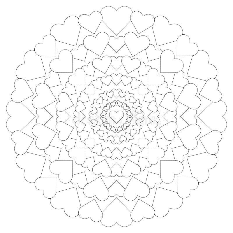 Vector la mandala cariñosa del modelo circular con los corazones blancos y negros stock de ilustración