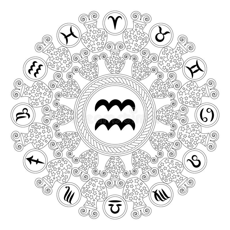 Vector la mandala geometrica rotonda bianca nera con il simbolo dello zodiaco dell'acquario - pagina adulta del libro da colorare illustrazione vettoriale