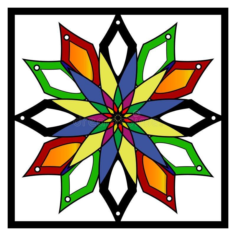 Vector la mandala, ornamento geométrico redondo, estampado de flores estilizado Elemento aislado del diseño colorido en un blanco stock de ilustración