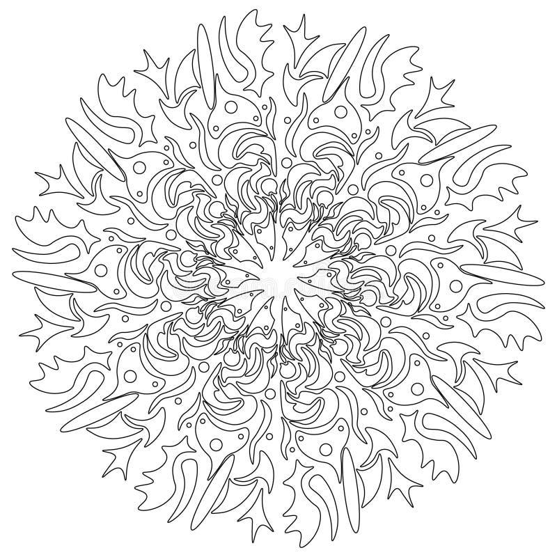 Vector la mandala, ornamento geométrico redondo, estampado de flores estilizado Elemento aislado del diseño colorido en un blanco ilustración del vector