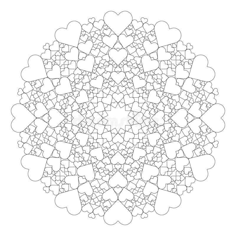 Vector la mandala preciosa blanco y negro con los corazones - página adulta del libro de colorear libre illustration