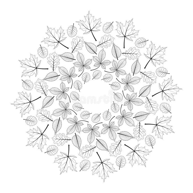 Vector la mandala redonda blanco y negro del otoño con las hojas del arce, del roble, de la haya, de la castaña de caballo y del  libre illustration