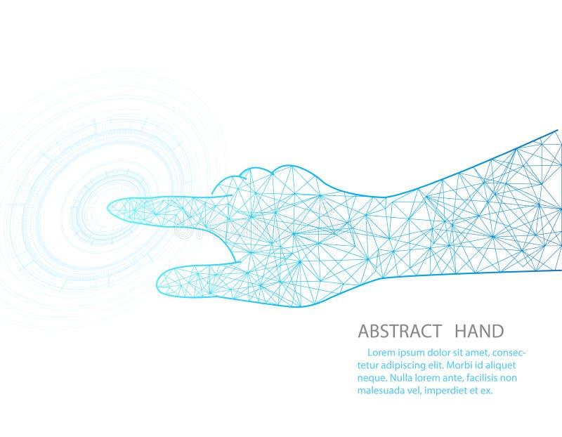 Vector la mano e la progettazione di tecnologia del cerchio sul fondo bianco di colore illustrazione vettoriale