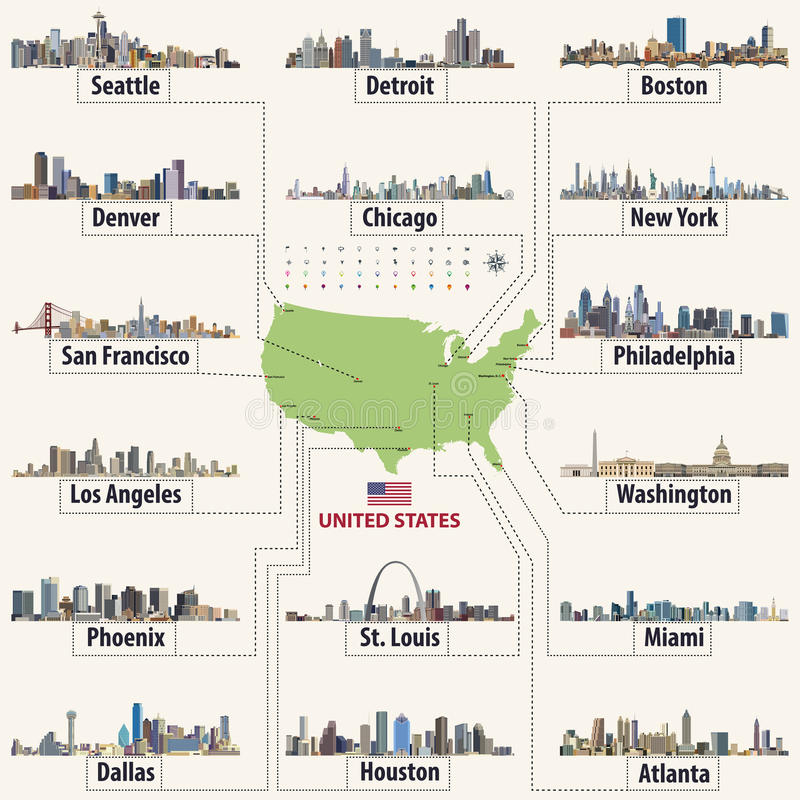 Vector la mappa degli Stati Uniti d'America con gli orizzonti del ` delle più grandi città royalty illustrazione gratis