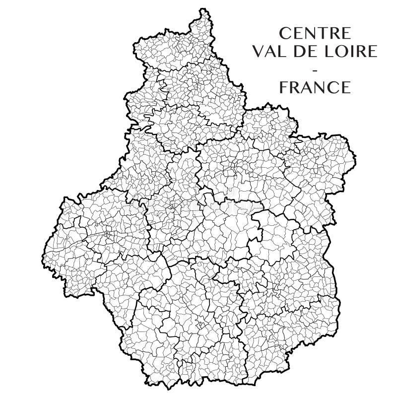 Vector la mappa del centro Val de Loire, Francia di regione fotografia stock libera da diritti