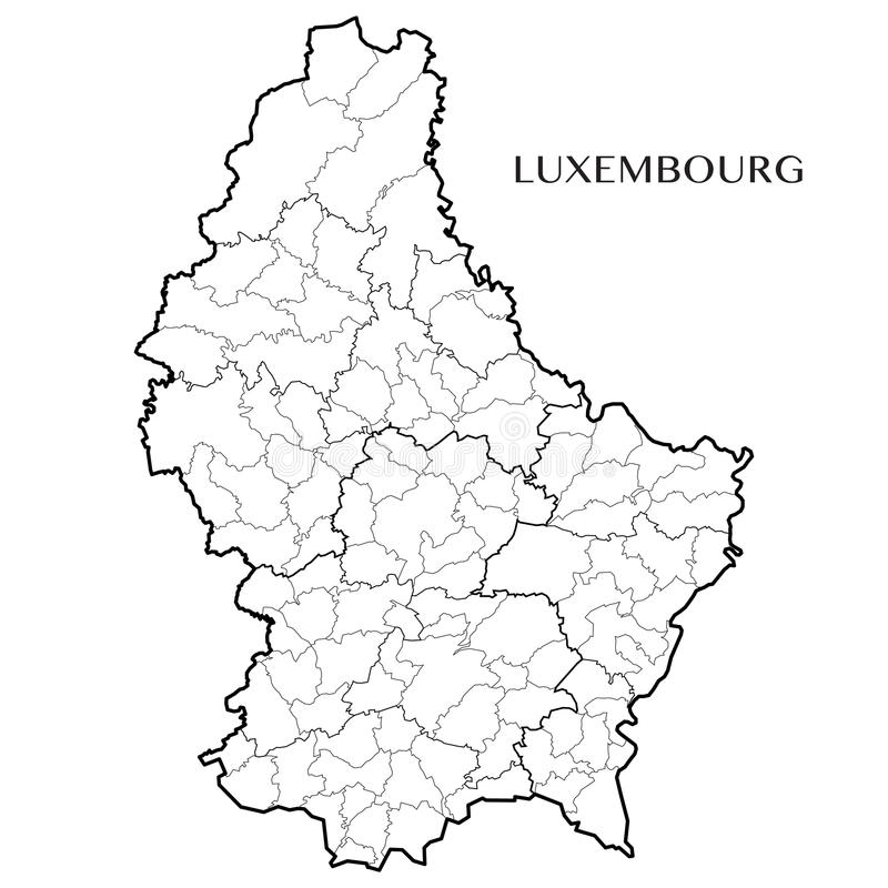 Vector la mappa del Gran Ducato del Lussemburgo fotografia stock libera da diritti