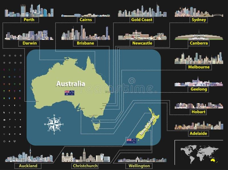 Vector la mappa dell'Australia e della Nuova Zelanda con gli orizzonti della più grande città illustrazione vettoriale
