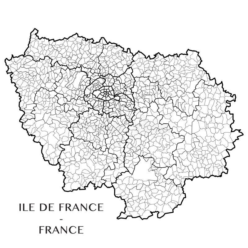 Vector la mappa dell'Ile-de-France di regione, Francia immagini stock