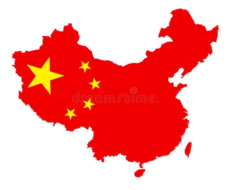 Vector la mappa della Cina con la bandiera nazionale isolata su bianco royalty illustrazione gratis